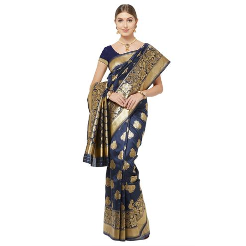 Engrossing Navy Blue Colored Festive Wear Woven Art Silk Saree