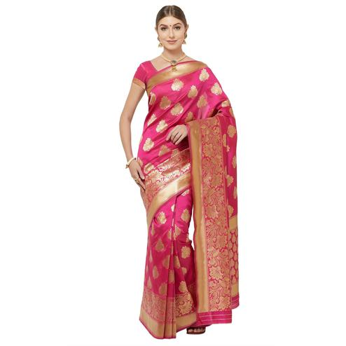 Captivating Fuschia Pink Colored Festive Wear Woven Art Silk Saree