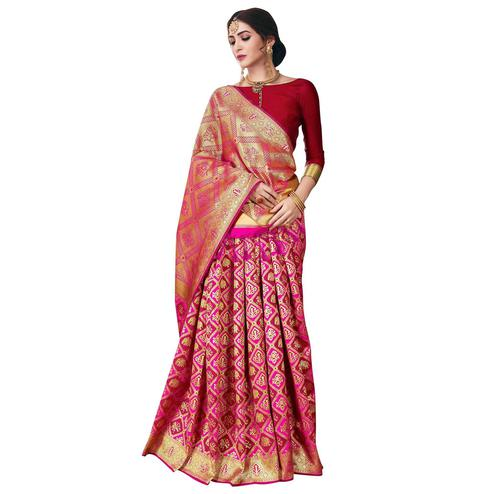 Amazing Pink-Red Colored Festive Wear Woven Banarasi Poly Silk Saree
