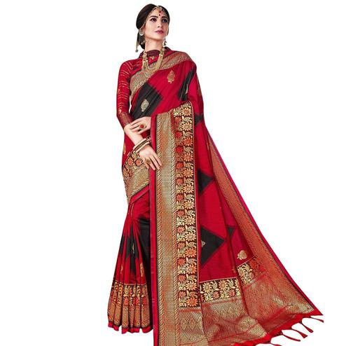 Gorgeous Red-Black Colored Festive Wear Woven Banarasi Poly Silk Saree