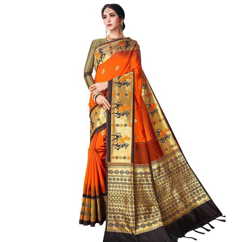 Blissful Orange-Black Colored Festive Wear Woven Banarasi Poly Silk Saree