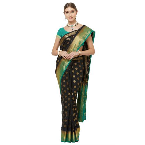 Mesmerising Black Colored Festive Wear Woven Banarasi Silk Saree