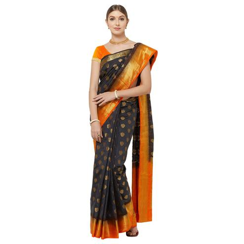 Pleasance Navy Blue Colored Festive Wear Woven Banarasi Silk Saree