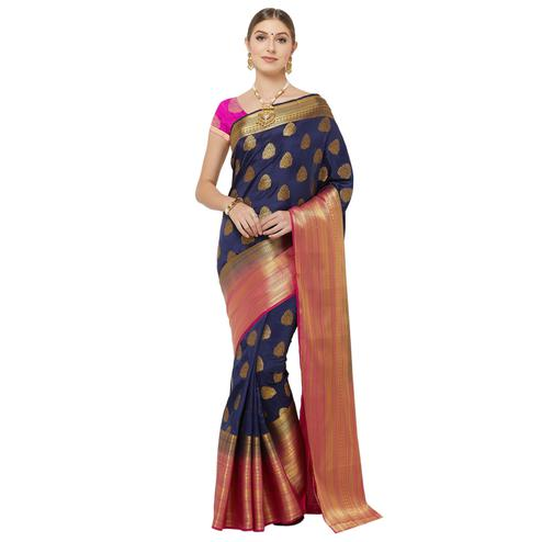 Ethnic Navy Blue Colored Festive Wear Woven Banarasi Silk Saree