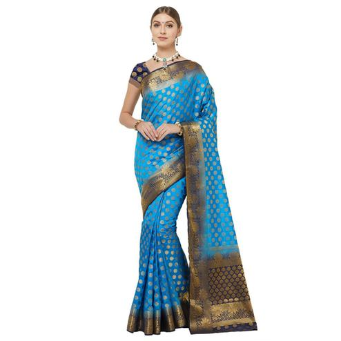 Ravishing Blue Colored Festive Wear Woven Banarasi Silk Saree