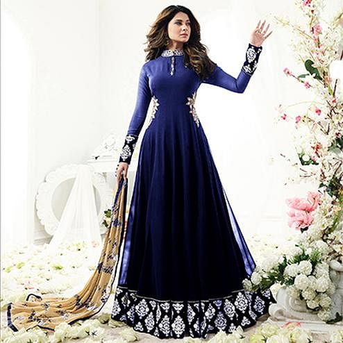 Gorgeous Party wear Blue Designer Embroidered Georgette Anarkali Suit