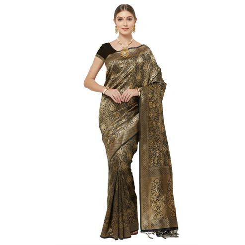 Surpassing Black Colored Festive Wear Woven Art Silk Saree