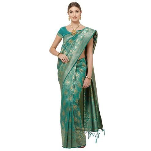Flirty Teal Blue Colored Festive Wear Woven Art Silk Saree