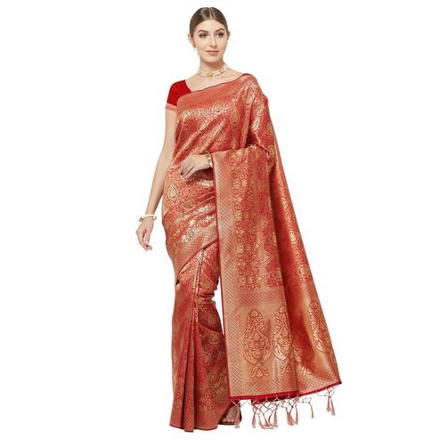 Appealing Red Colored Festive Wear Woven Art Silk Saree