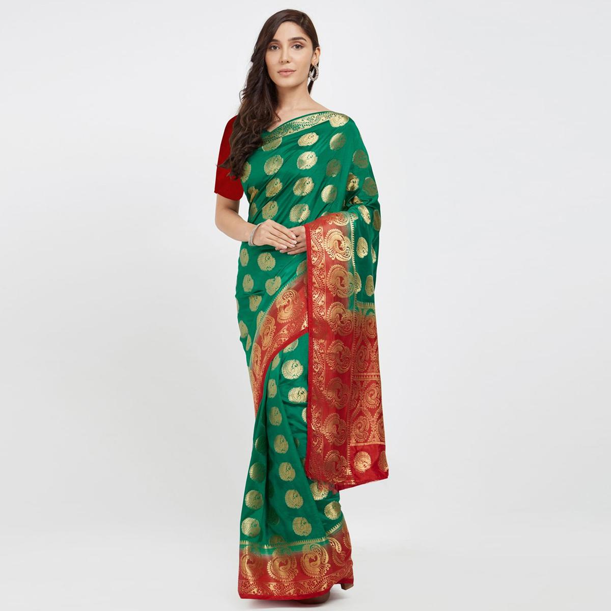 Arresting Teal Green Colored Festive Wear Woven Banarasi Silk Saree