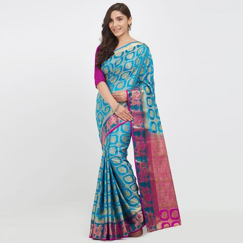 Desirable Sky Blue Colored Festive Wear Woven Banarasi Silk Saree
