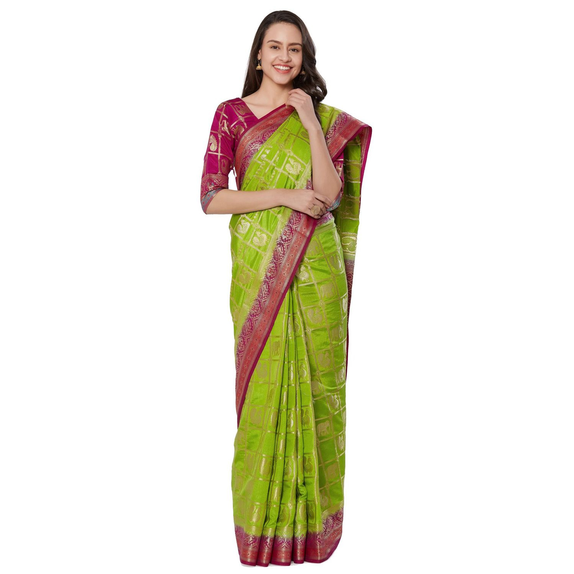 Exotic Green Colored Festive Wear Woven Banarasi Silk Saree