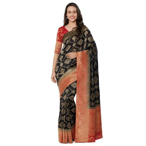 Sophisticated Black Colored Festive Wear Woven Banarasi Silk Saree