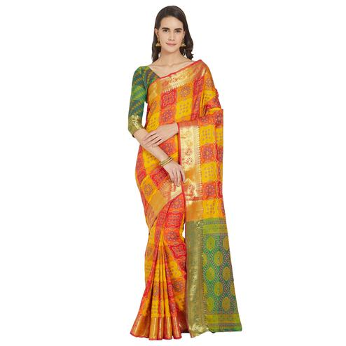 Trendy Multi Colored Festive Wear Woven Banarasi Silk Saree