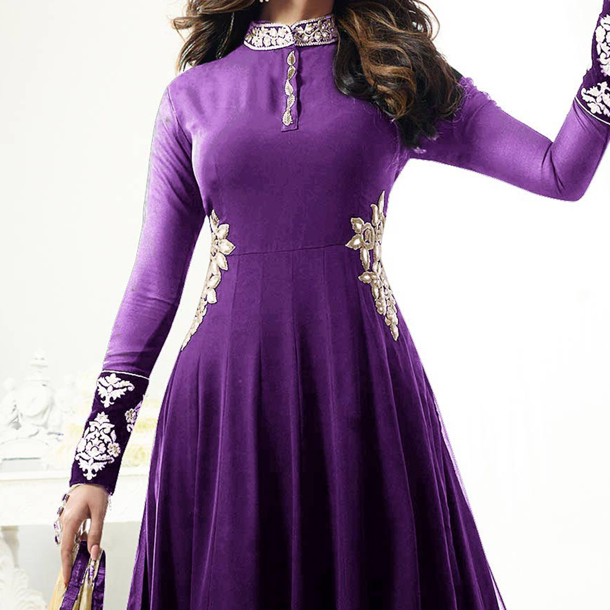 Gorgeous Party wear Purple Designer Embroidered Georgette Anarkali Suit