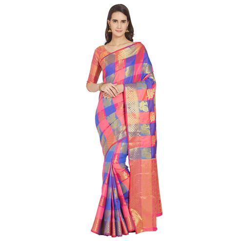 Exceptional Pink-Blue Colored Festive Wear Woven Kanjivaram Silk Saree