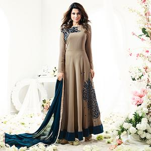Stylish Beige Designer Partywear Embroidered Anarkali Suit