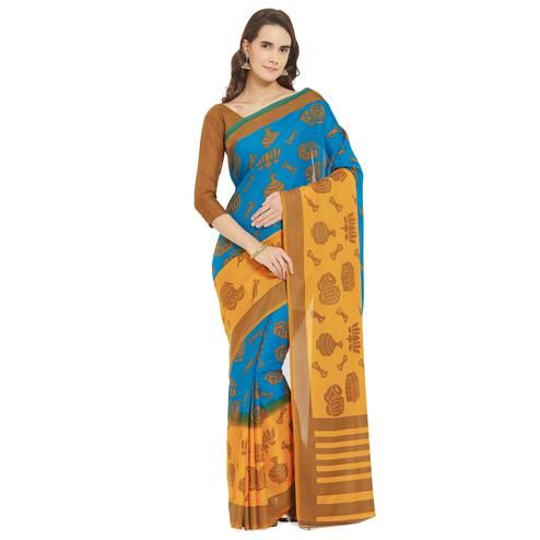 Magnetic Blue-Yellow Colored Casual Printed Crepe Georgette Saree