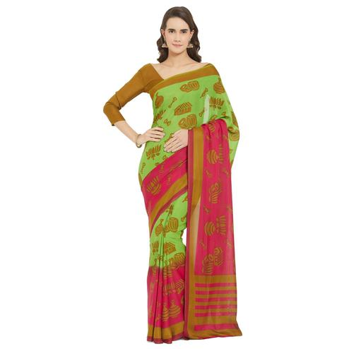 Excellent Green-Pink Colored Casual Printed Crepe Georgette Saree