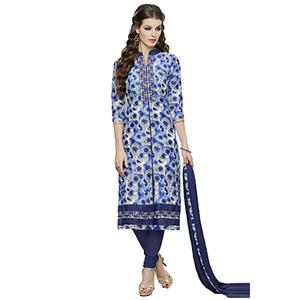 Blue Printed Work Cotton Salwar Suit