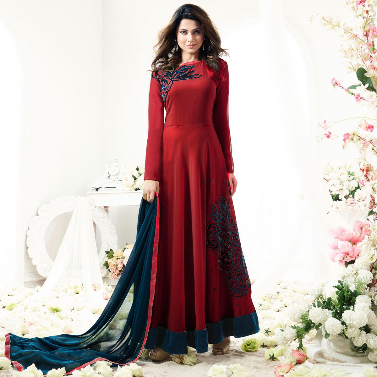 Stylish Maroon Designer Partywear Embroidered Anarkali Suit