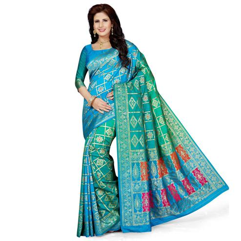 Flirty Green-Blue Colored Festive Wear Woven Art Silk Saree