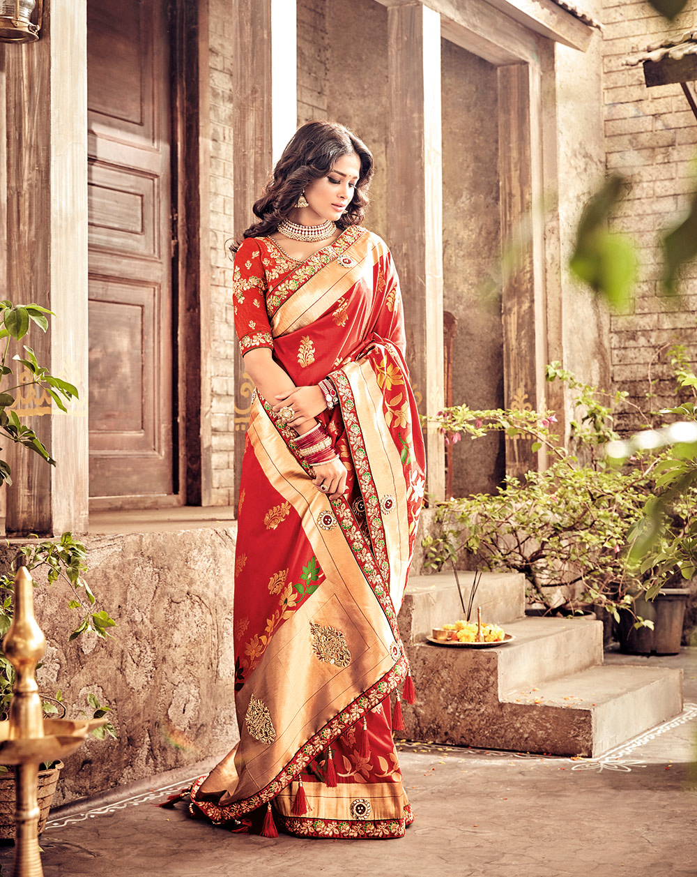 Hot Red Pure Banarsi Silk Designer Embroidered Saree