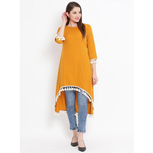 Fabnest - Yellow Colored Casual Wear Contrast Laced Crepe High Low Tunic