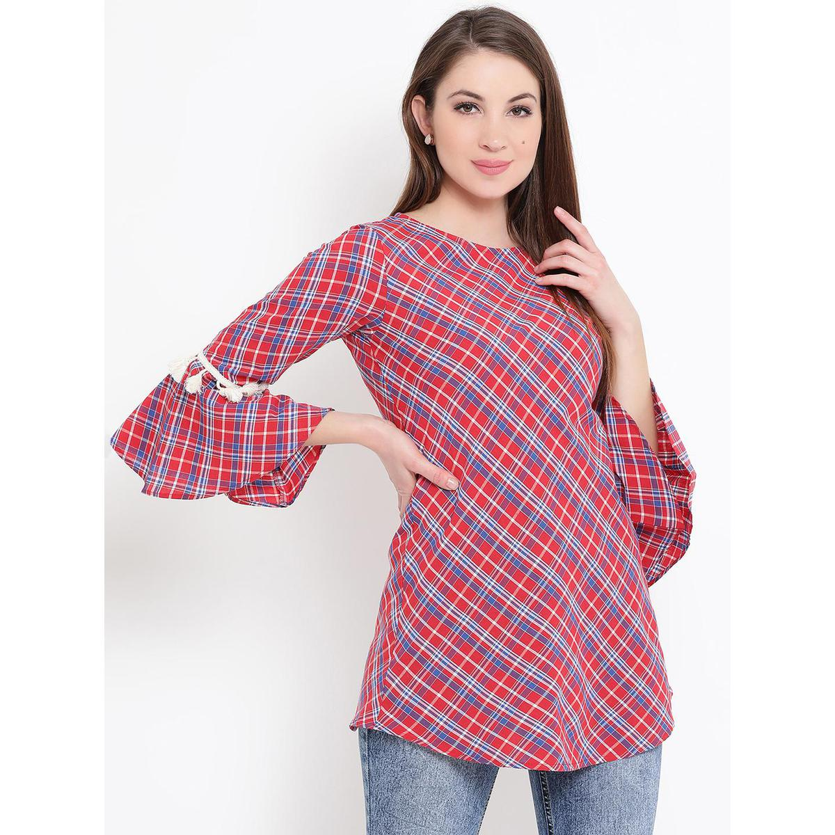 Fabnest - Red Colored Casual Wear Bell Sleeves Checked Printed Cotton Tunic