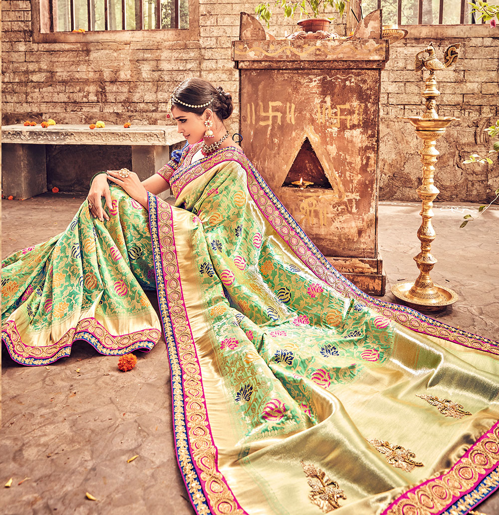 Stunning Green Pure Banarsi Silk Designer Embroidered Saree