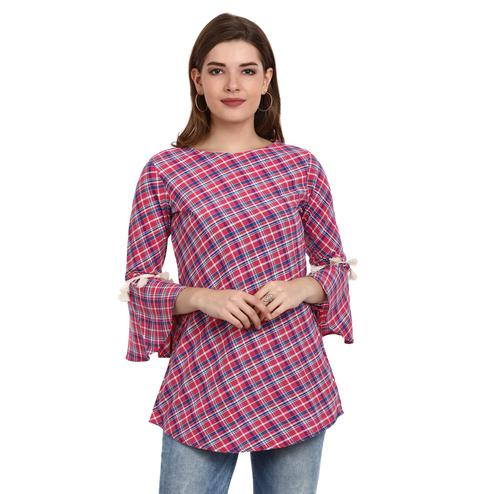 Fabnest - Pink Colored Casual Wear Bell Sleeves Checked Printed Cotton Tunic