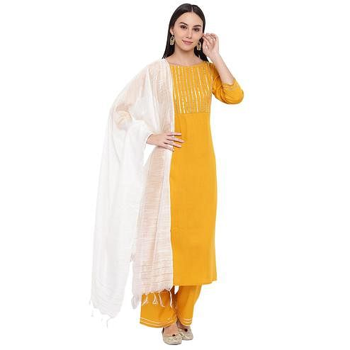 Fabnest - Yellow Colored Casual Wear Gota Embellishment Kurti Pant Set With Zari Dupatta