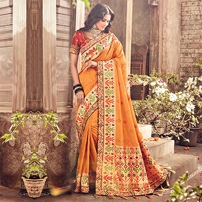 Elegant Turmeric Yellow Pure Banarsi Silk Designer Embroidered Saree