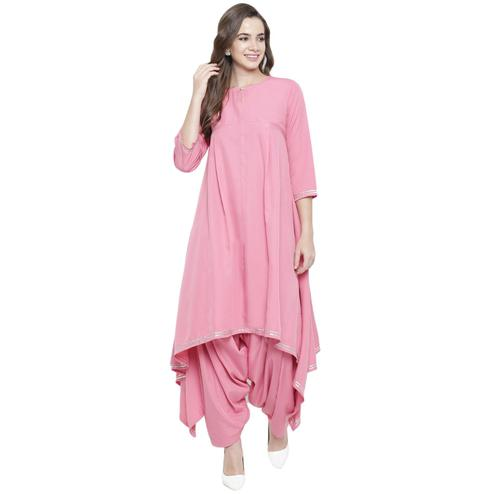 Fabnest - Pink Colored Casual Wear Gota Work Asymmetrical Crepe Kurti Salwar Set