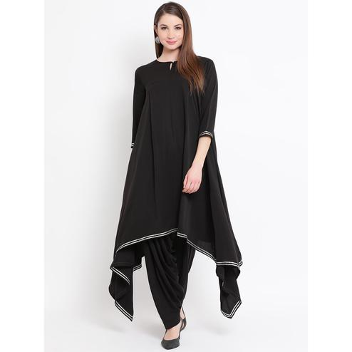 Fabnest - Balck Colored casual Wear Asymmetrical Crepe Kurti Salwar Set