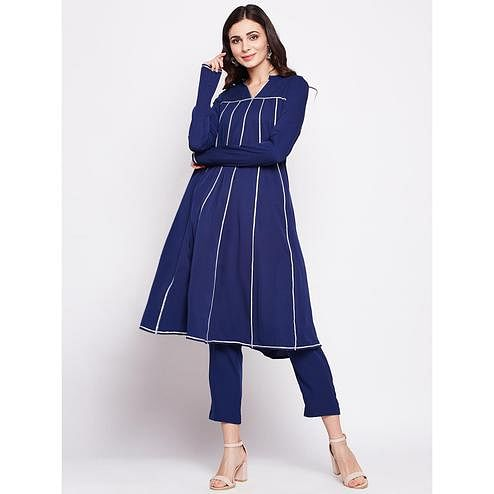 Fabnest - Navy Blue Colored Casual Wear Gota Work Crepe Kurti Pant Set