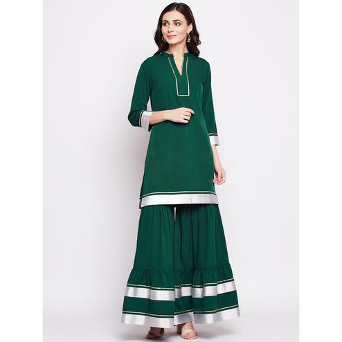 Fabnest - Green Colored Casual Wear Gota Work Crepe Kurti Sharara Set