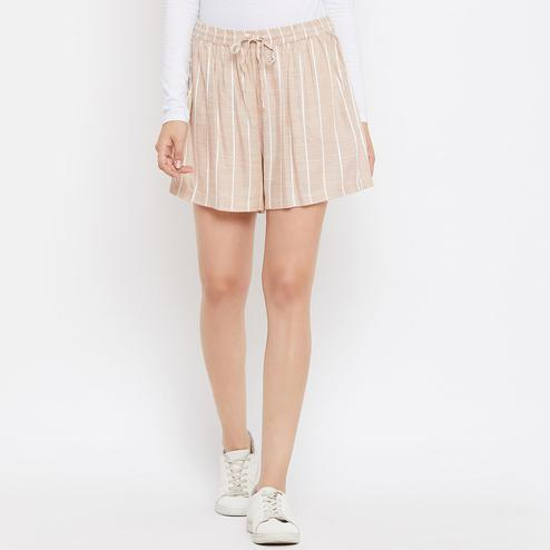 Adirav - Beige Colored Casual Wear Striped Printed Rayon Shorts