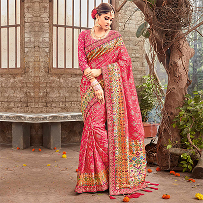 Attractive Pink Pure Banarsi Silk Designer Embroidered Saree