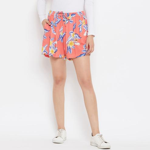Adirav - Peach Colored Casual Wear Floral Printed Crinkle Rayon Shorts