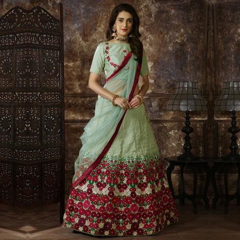 Desirable Light Green Colored Party Wear Floral Embroidered Silk Lehenga Choli