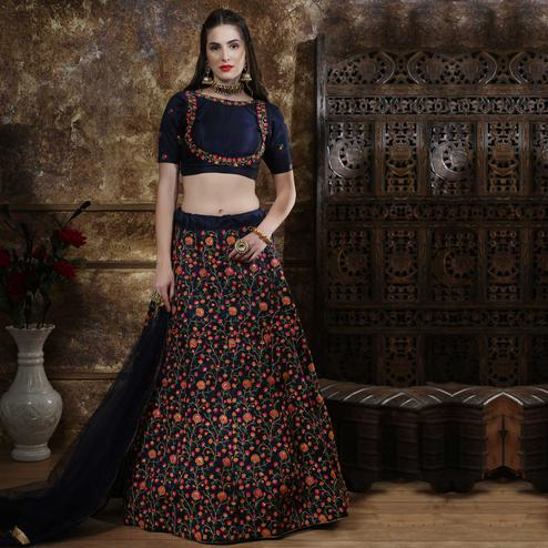 Exotic Navy Blue Colored Party Wear Floral Embroidered Silk Lehenga Choli