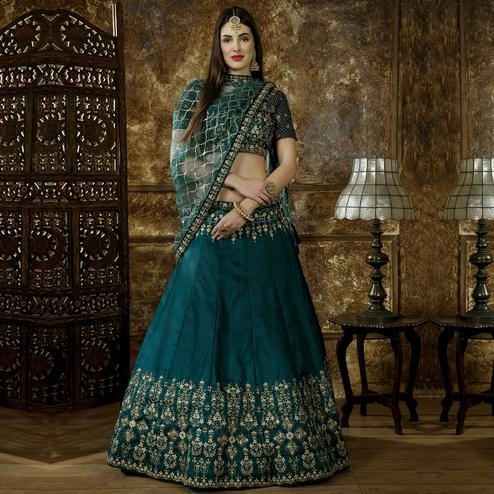 Trendy Teal Blue Colored Party Wear Floral Embroidered Taffeta Satin Lehenga Choli