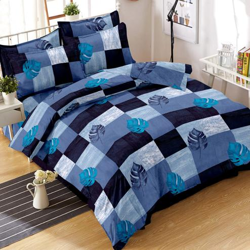 Arresting Blue Colored Leaf Printed Cotton Double Bedsheet With Pillow Cover