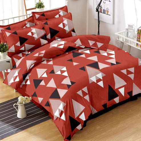 Exotic Rust Red Colored Geometric Printed Cotton Double Bedsheet With Pillow Cover