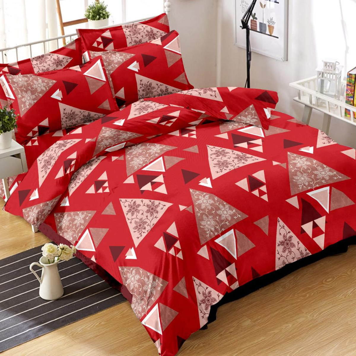 Elegant Red Colored Geometric Printed Cotton Double Bedsheet With Pillow Cover