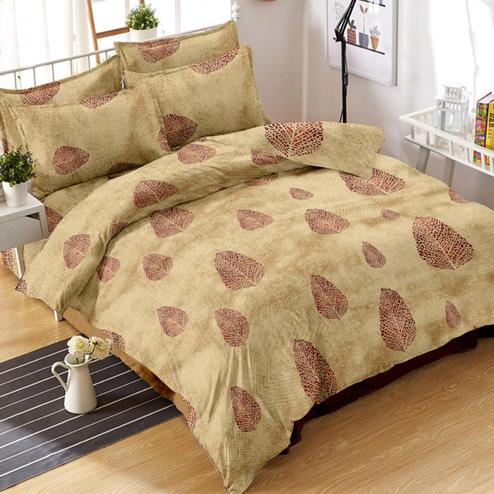Radiant Beige Colored Leaf Printed Cotton Double Bedsheet With Pillow Cover