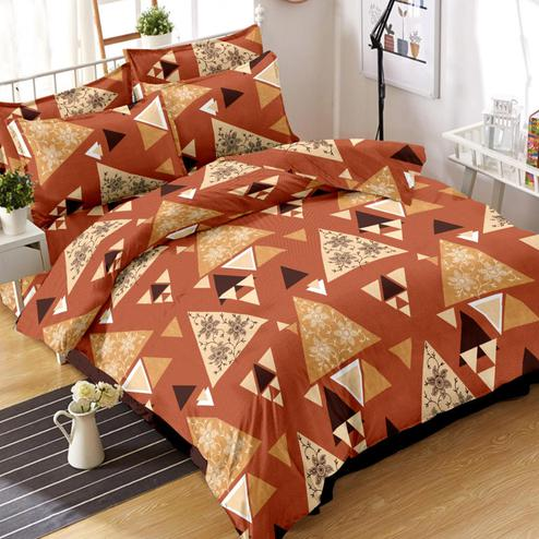 Pleasant Rust Orange Colored Geometric Printed Cotton Double Bedsheet With Pillow Cover