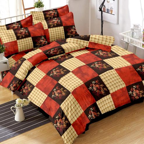 Opulent Red-Cream Colored Floral Printed Cotton Double Bedsheet With Pillow Cover