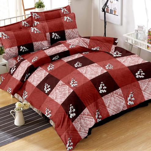 Energetic Maroon Colored Floral Printed Cotton Double Bedsheet With Pillow Cover